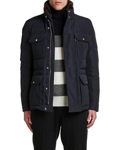 Men's Jean-Marc Puffer Coat w/ Fur Collar