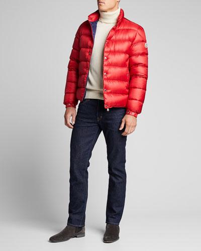 Men's Nylon Chrome-Button Puffer Jacket