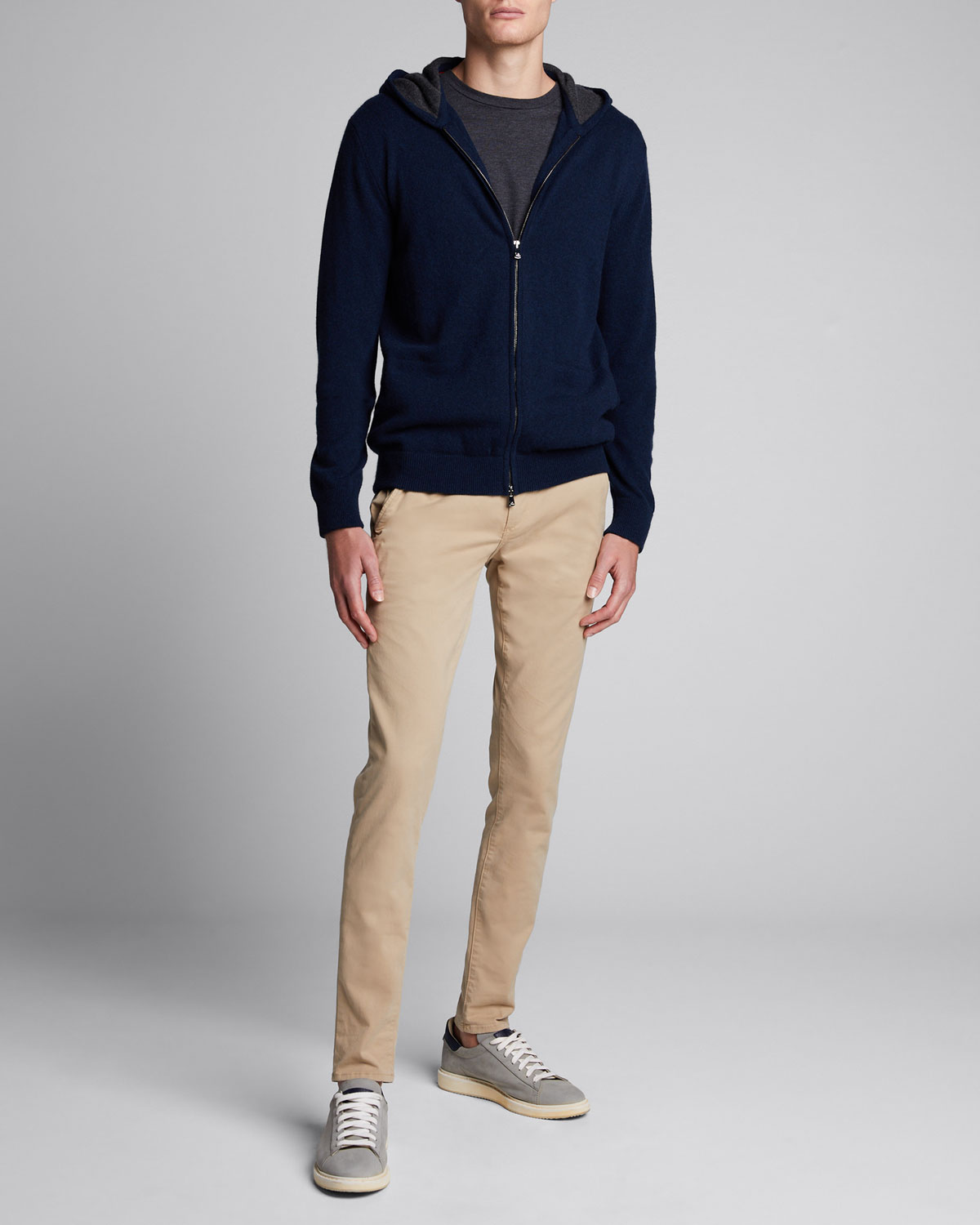 Isaia Tops MEN'S TWO-TONE CASHMERE ZIP-FRONT HOODIE