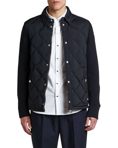 Men's Knitted-Back Zip-Front Cardigan