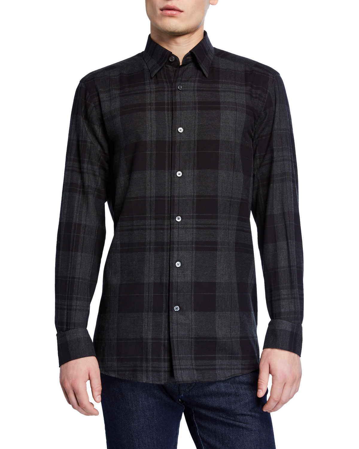 Ermenegildo Zegna T-shirts MEN'S LARGE PLAID WASHED SPORT SHIRT