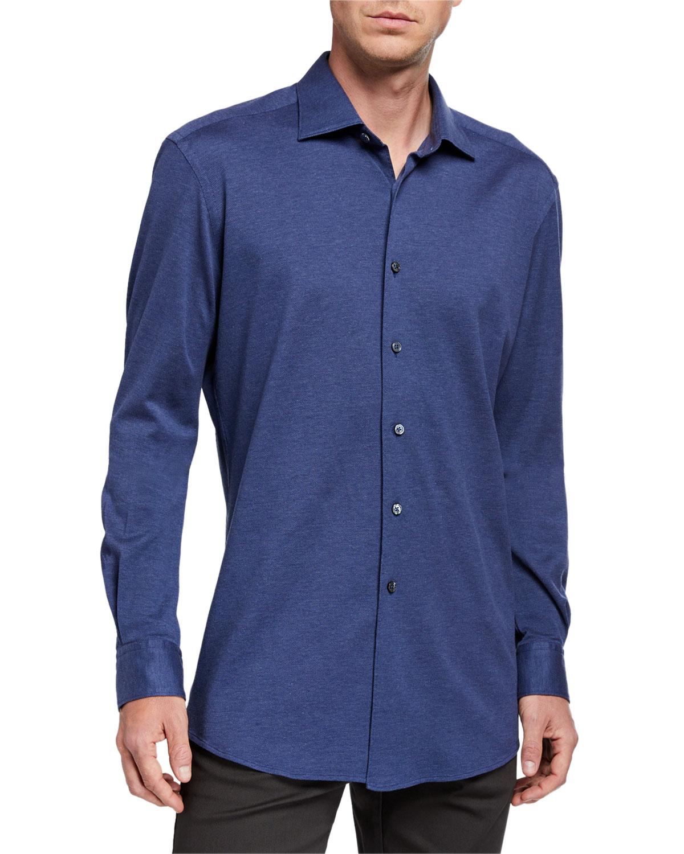 Ermenegildo Zegna T-shirts MEN'S HEATHERED JERSEY SPORT SHIRT