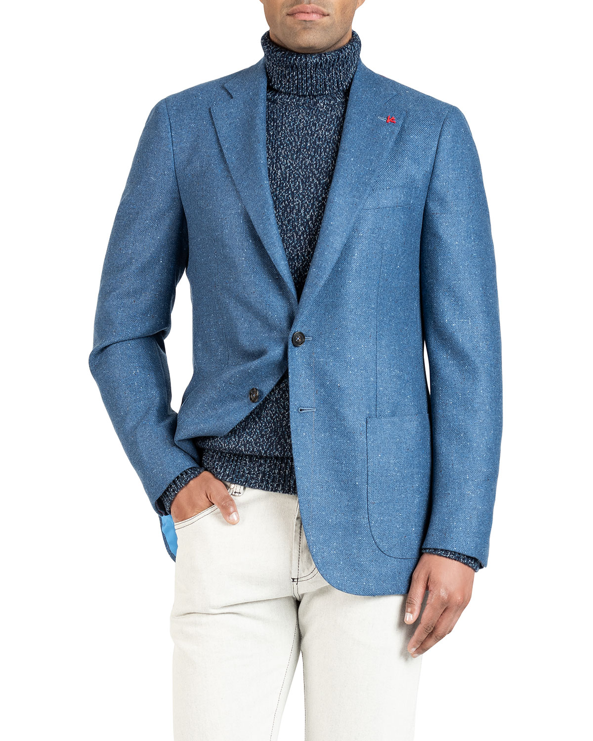 Isaia Jackets MEN'S DONEGAL CASHMERE TWO-BUTTON JACKET