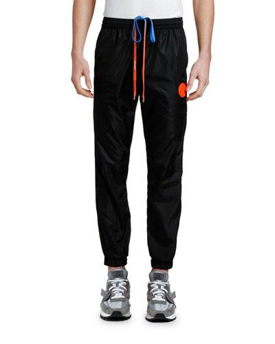 Men's Nylon Track Pants with Logo Tape