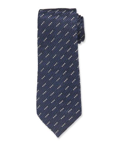 Dash Pattern Silk Tie, Blue/Black
