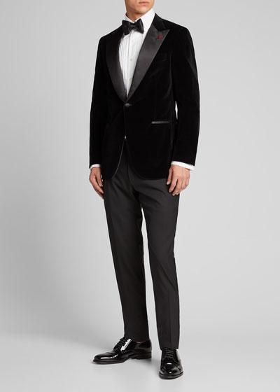 Men's Velvet Satin-Lapel Dinner Jacket