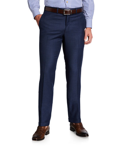 Men's Wool Flat-Front Dress Pants, Blue