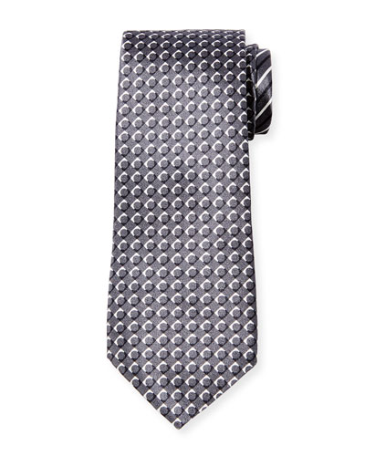 Men's Pattern-Stripe Silk Tie, Gray