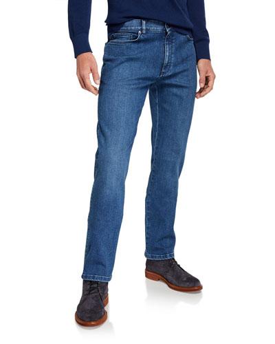 Men's Light Washed Stretch-Denim Jeans