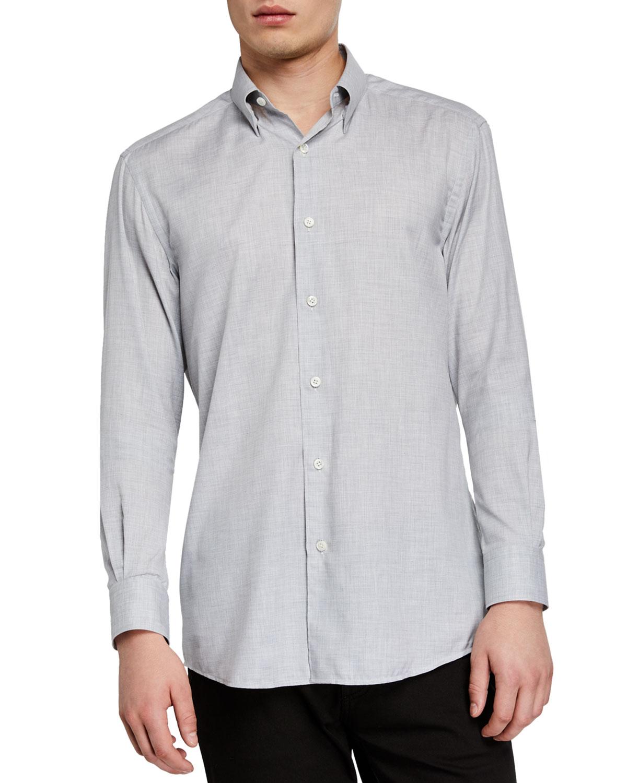Ermenegildo Zegna T-shirts MEN'S WASHED SOLID COTTON SPORT SHIRT