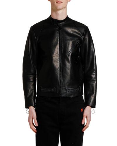 Men's Scaffolding Arrows Leather Biker Jacket