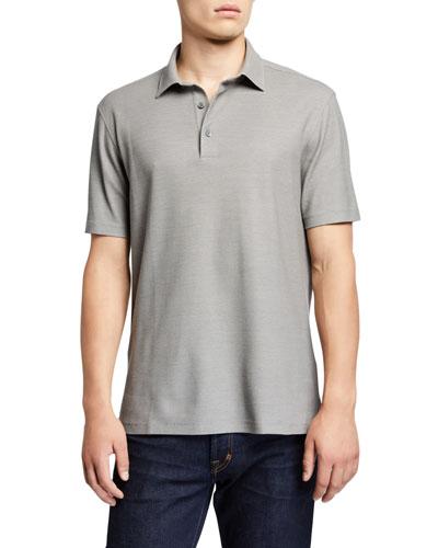 Men's Solid Birdseye Cotton-Silk Polo Shirt