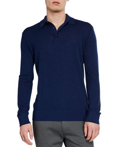 Men's Cashmere-Blend Long-Sleeve Polo Shirt, Dark Blue