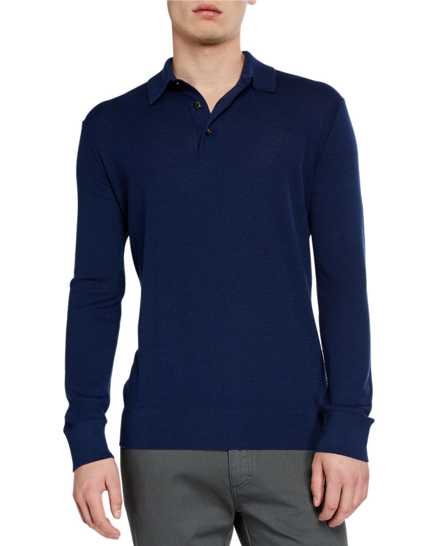 Ermenegildo Zegna T-shirts MEN'S CASHMERE-BLEND LONG-SLEEVE POLO SHIRT, DARK BLUE