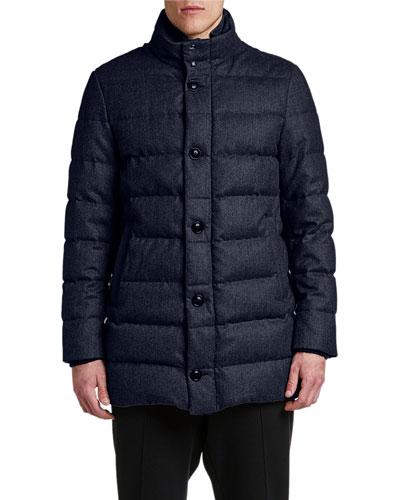 Men's Baudier Button-Front Puffer Coat