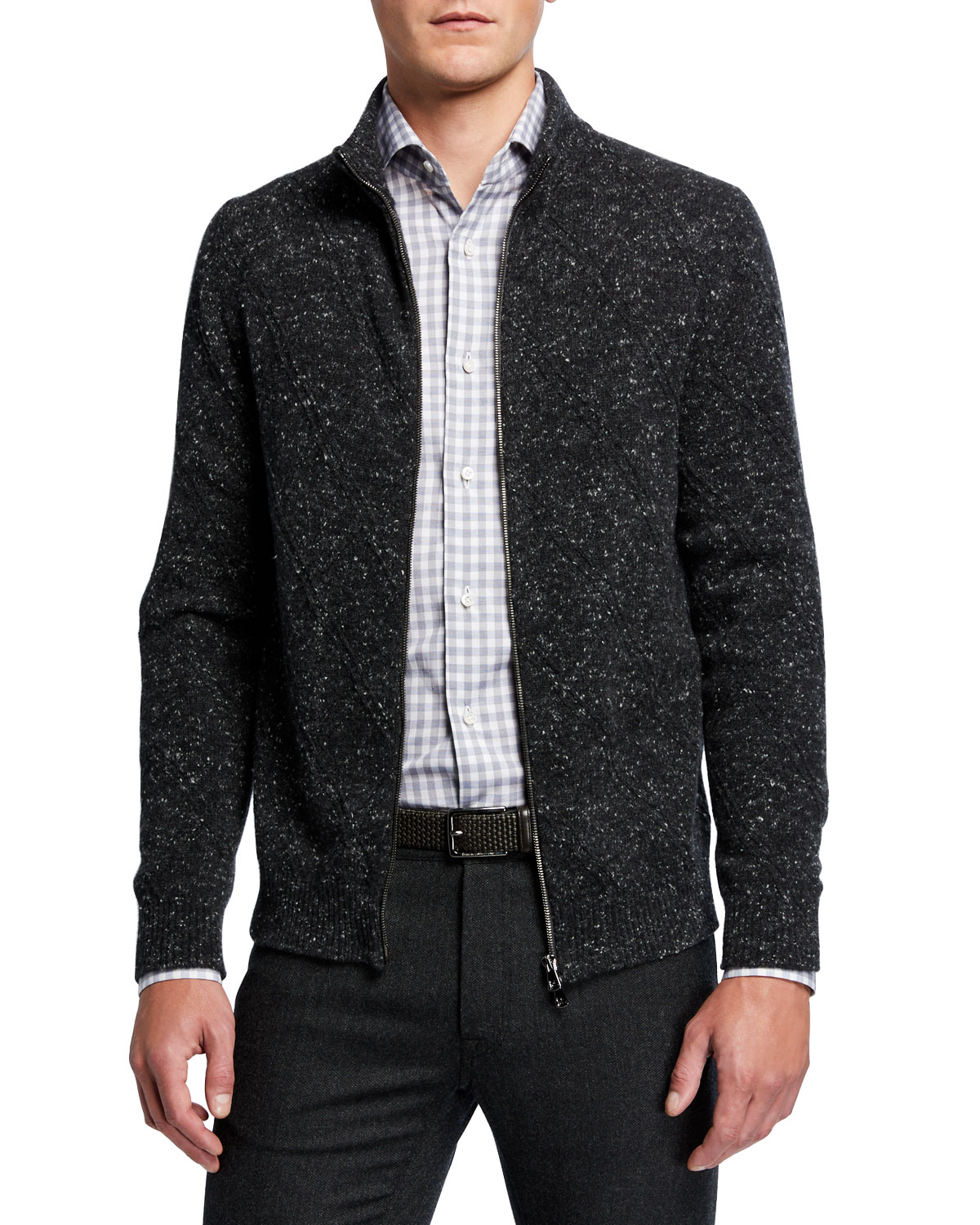 Isaia Knits MEN'S DONEGAL KNIT ZIP-FRONT SWEATER