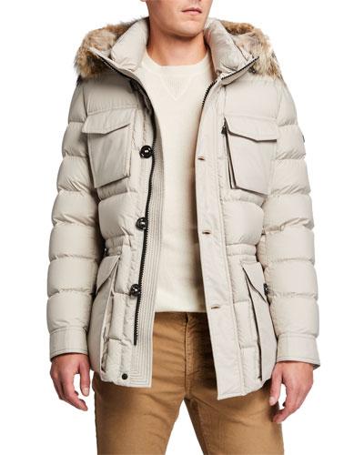 Men's Augert Puffer Coat w/ Fur Trim