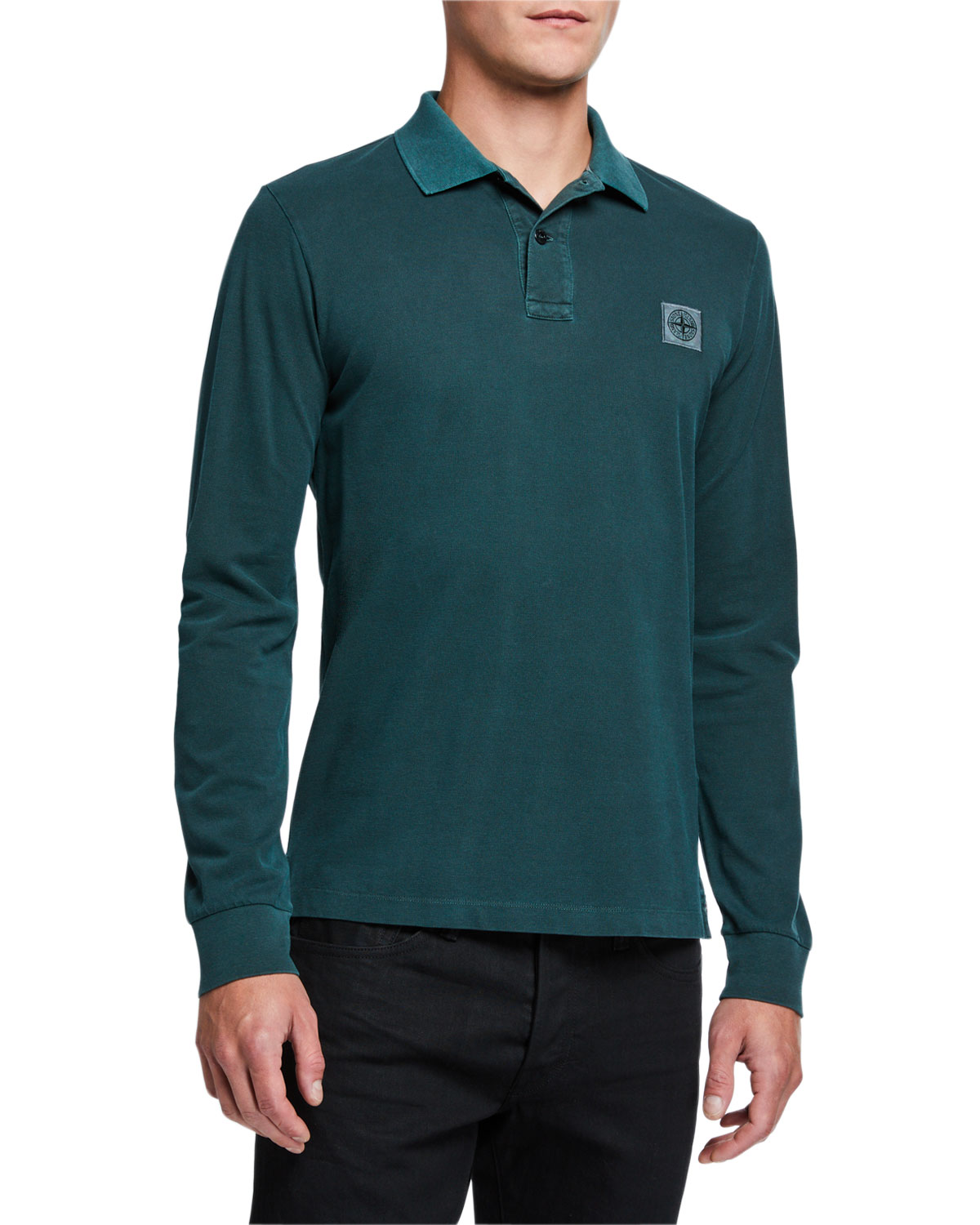 Stone Island T-shirts MEN'S LONG-SLEEVE COTTON POLO SHIRT