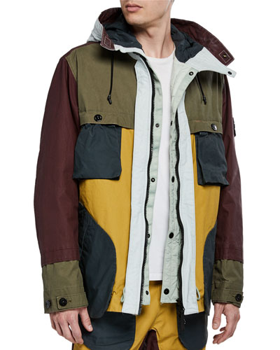 Men's Multicolor Patch Zip-Front Jacket