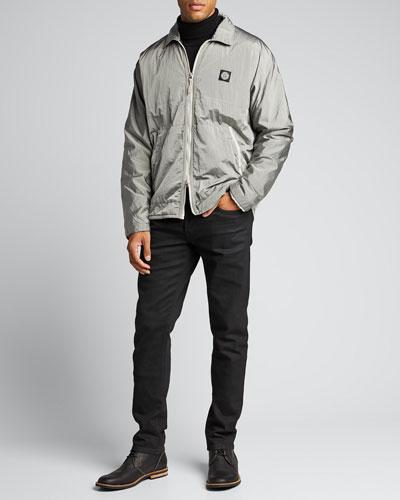 Men's Nylon Metal Zip-Front Overshirt Jacket