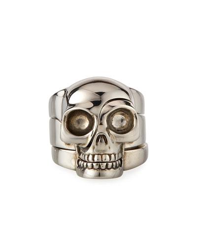 Men's Three-Row Divided Skull Ring