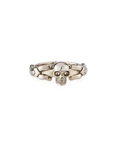 Men's Textured Skull Ring, Size 9-10