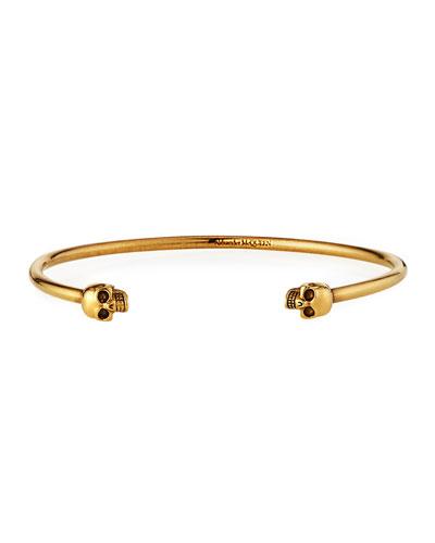 Men's Thin Twin Skulls Cuff Bracelet, Golden