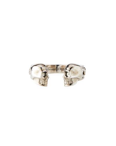 Men's Decorative Skull Cuff Ring, Size 9-10