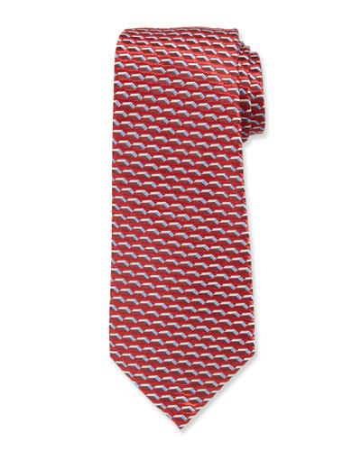 3D Dash Silk Tie, Red/Blue