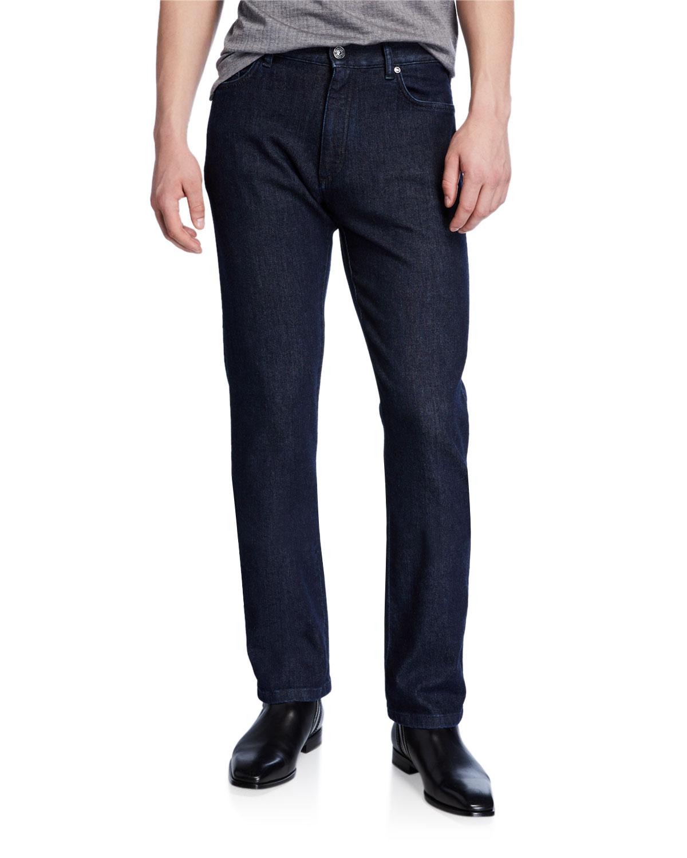 Ermenegildo Zegna Jeans MEN'S DARK-WASH STRAIGHT-LEG JEANS