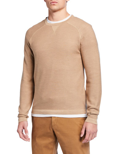 Men's Solid Silk-Cotton Crewneck Sweater