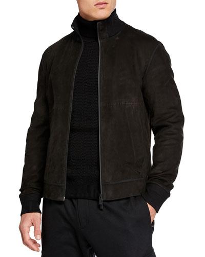 Men's Full-Zip Nubuck Leather Jacket