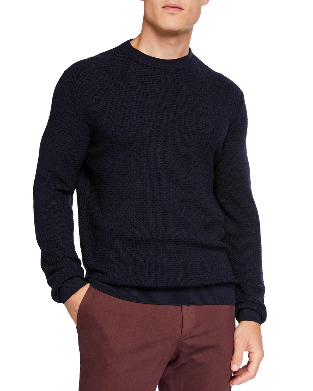 Ermenegildo Zegna Sweaters MEN'S TEXTURED WOOL/CASHMERE CREWNECK SWEATER