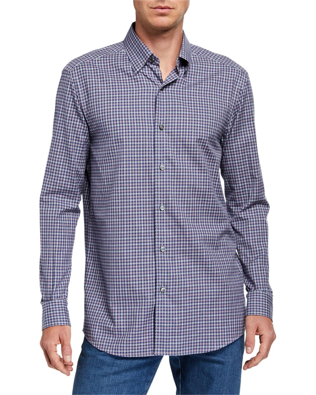 Ermenegildo Zegna T-shirts MEN'S SMALL CHECK SPORT SHIRT
