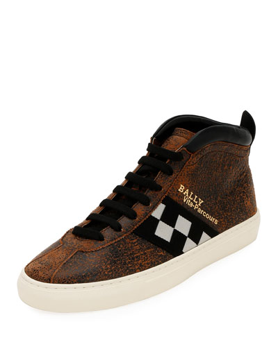 Men's Vita Parcours Distressed Leather Checkerboard Sneakers