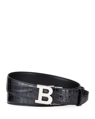 Men's B Buckle Stamped Croc Belt