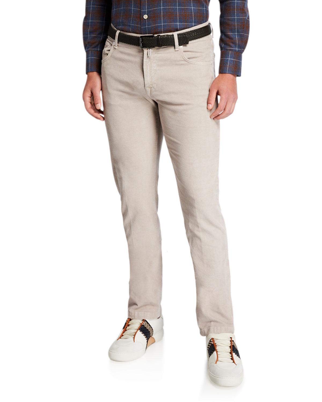 Kiton Pants MEN'S STRAIGHT-LEG CORDUROY 5-POCKET PANTS, STONE