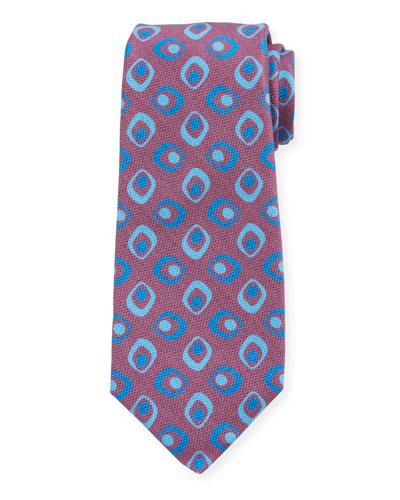 Men's Art Deco Squares Silk Tie, Red