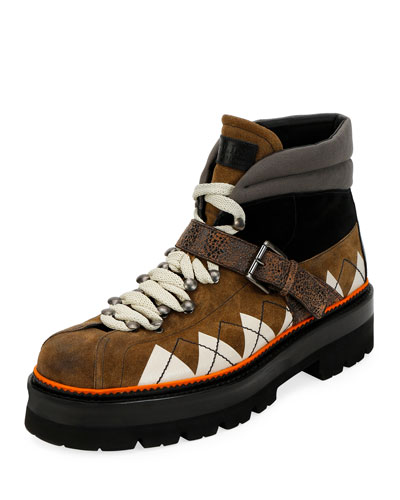 Men's Manilo Graphic-Trim Leather Hiking Boots