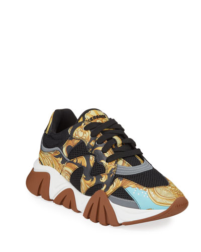 Men's Squalo Mesh & Baroque-Print Leather Sneakers