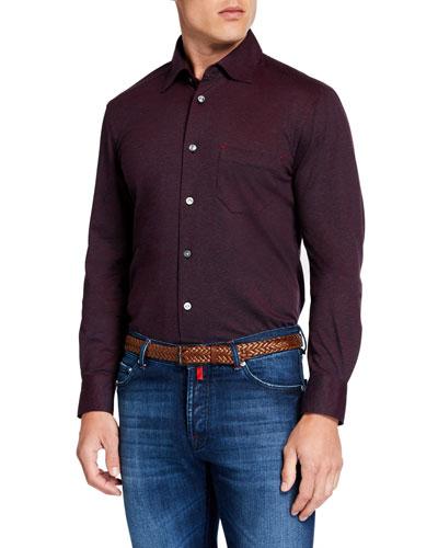 Men's Knit Sport Shirt, Burgundy