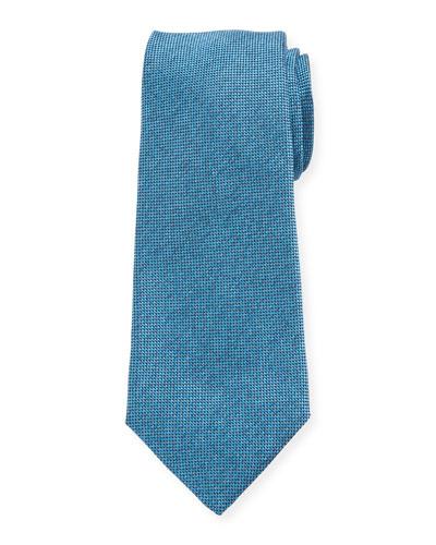 Men's Textured Solid Silk Tie, Aqua
