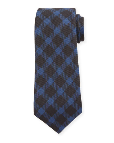 Gingham Check Silk Tie, Navy