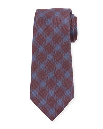 Men's Gingham Check Silk Tie