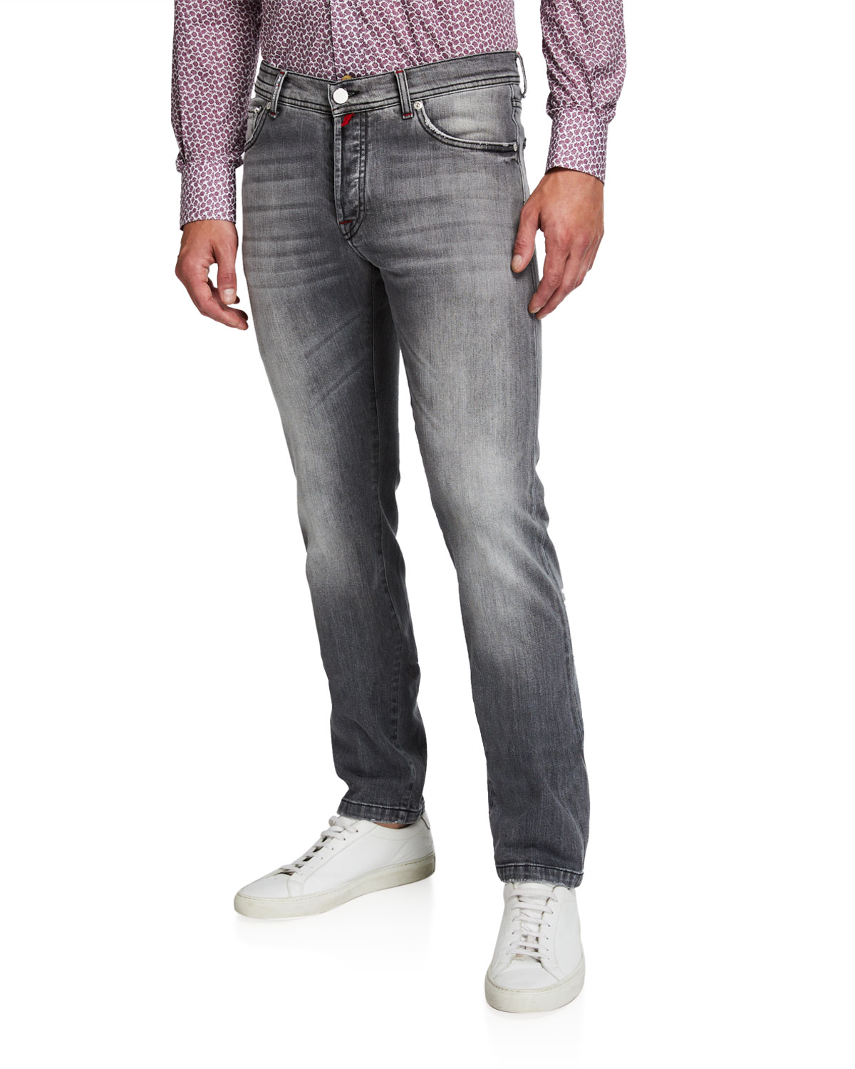 Kiton Jeans MEN'S GRAY-WASHED DISTRESSED JEANS