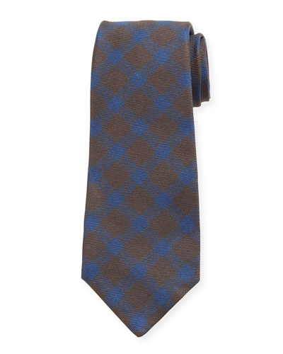 Gingham Check Silk Tie, Brown