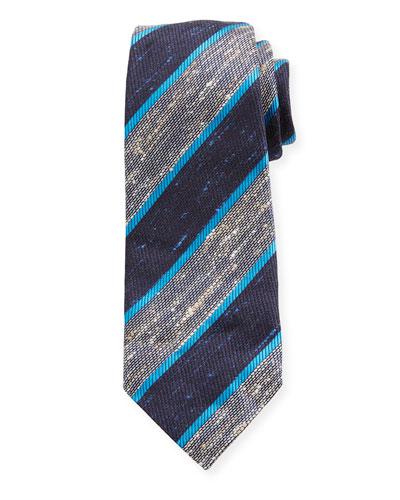 Wide Diagonal Stripe Silk Tie, Blue