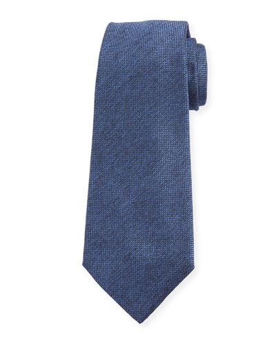 Men's Textured Solid Silk Tie, Blue