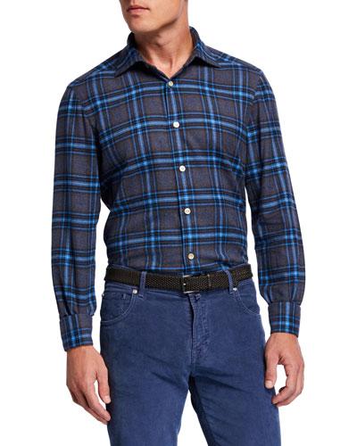 Men's Exploded Plaid Cotton Sport Shirt