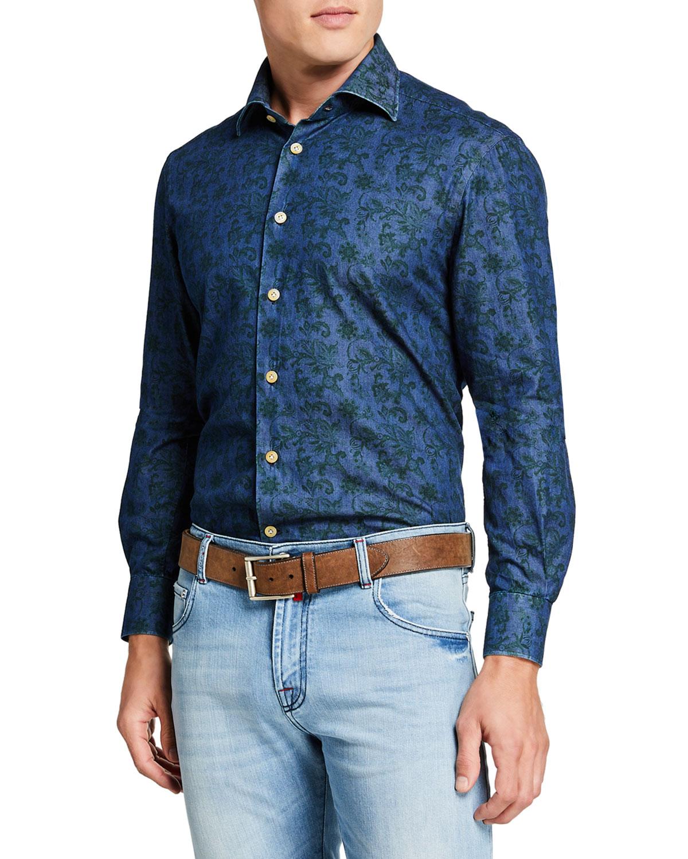 Kiton T-shirts MEN'S FLORAL CHAMBRAY SPORT SHIRT